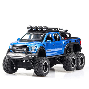 Image 3 - 1:32 Big Pick Up Model Toy Car For Ford F150 Raptor Sound Light Sliding Car With Motorcycle For Kids Toys Gifts Free Shipping