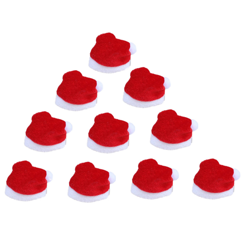 10Pcs/Set Mini Christmas Hat Santa Claus Hat Xmas Apple Wine Bottle Caps Christmas Gift Caps For New Year Tree Ornament Decor