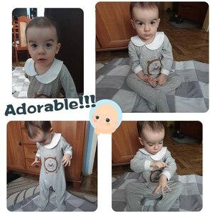 Image 2 - Pureborn yenidoğan bebek Footies ayaklı tulum bebek erkek giysileri pamuk bebek pijama uzun kollu bahar sonbahar kıyafeti