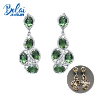 Bolaijewelry,Zultanite big earrings 925 sterling silver created color change gemstone fine jewelry top gift for women Wedding