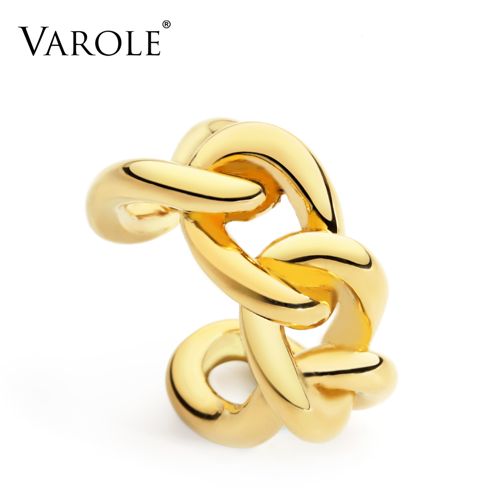 VAROLE Twisted Chain Link Rings Gold Color Midi Ring Knuckle Rings For Women Jewelry Bagues Anillos Pour Femme