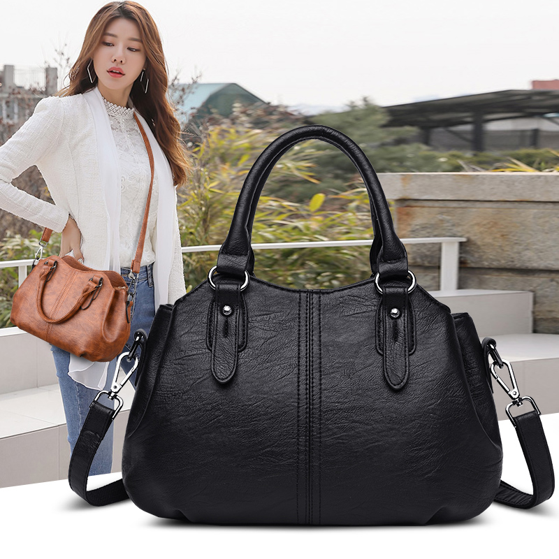 Handbags Women 2019 Genuine Leather Shoulder Bag For Women Shopping Ladies Bag Zip Pocket Fashion Purses Women