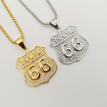 цены Bling Bling Gold color stainless steel American Historic Route 66 pendant necklace Full rhinestones ROUTE 66 necklace jewelry
