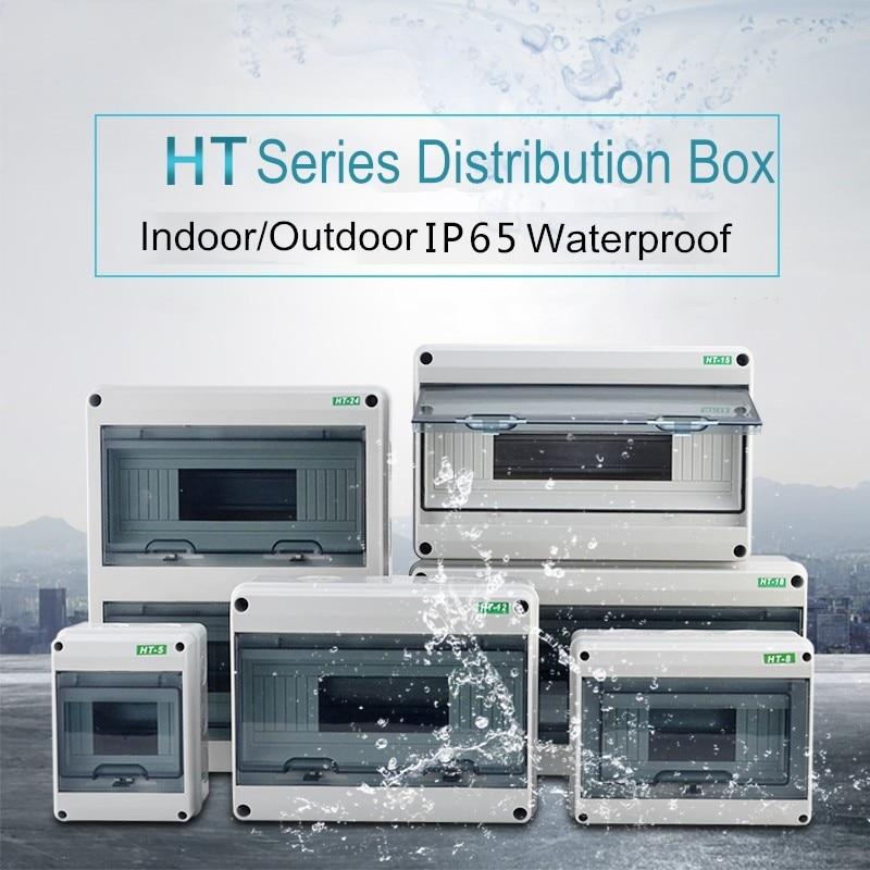 HT Series In/Outdoor Waterproof Power Distribution Box 5/8/12/15/18/24 Way Circuit Breaker Electrical Wiring Panel Junction Box