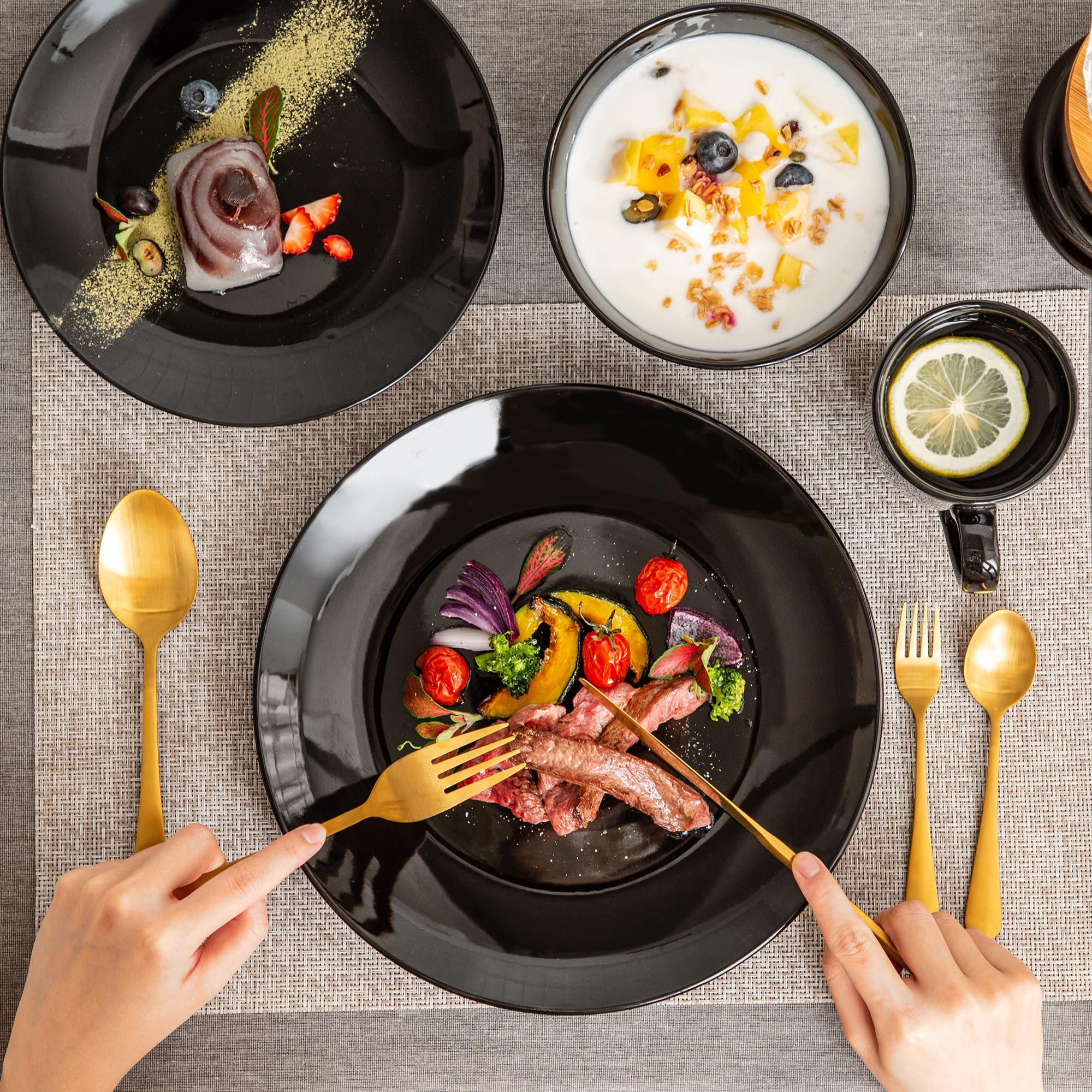 LOVECASA DS 16/32/48-Piece Black Ceramic Porcelain Dinnerware Tableware Dinner Set with Dinner Plate,Dessert Plate,Bowl,Mug Set
