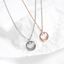 ZOBEI Real 925 Sterling Silver  Round Smiling Face Pendant Necklaces Minimalist Fine Jewelry For Women Party Accessories