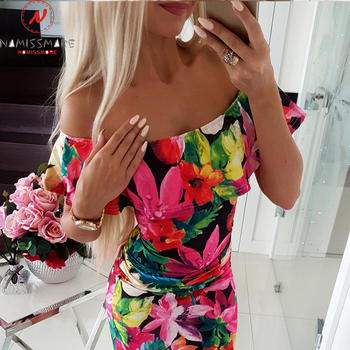 Women Bodycon Dress Patchwork Design Off Shoulder Short Sleeve Flower Print Mini Dress Lady Summer Slim Party Streetwear Dress 1