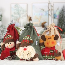 Christmas Linen Cloth Gift Bags Christmas Stocking Cartoon Drawstring Treat