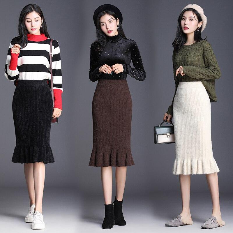 2019 New Autumn Winter Womens Korean Version Stretch Fishtail Skirt High Waist Was Thin Irregular Ruffled Sexy Bag Hip Skirt