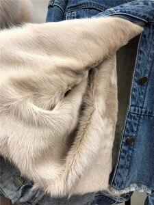 Image 5 - Indietro cartoon cat print fodera in pelliccia spessa parka in vera pelliccia donna collo in pelliccia di procione naturale giacca di jeans cappotto con cappuccio in pelliccia oversize