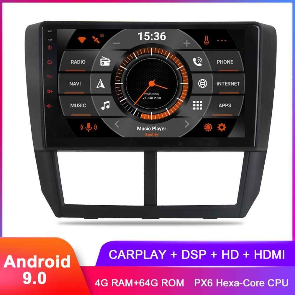 """9 """"IPS 2.5D למעלה תצוגת אנדרואיד 9.0 Carplay לסובארו פורסטר 2008 2009 2010 2011 2012 סטריאו ניווט GPS DSP אודיו וידאו"""