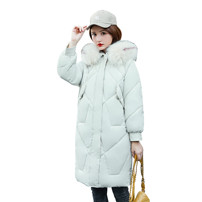 Women's White Jacket New Fashion 2019 Korean Version Of The Knee   Coat   in The Long Section Of The Slim   Down   Women's Jackets