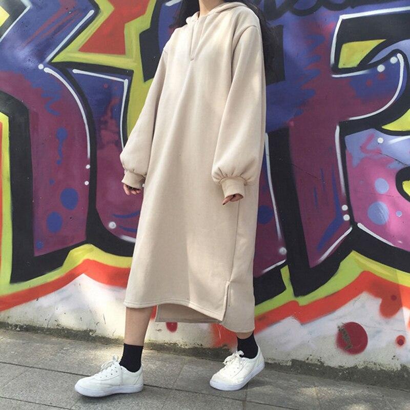 Women Harajuku Style Loose Hoodies Long Solid Color Hooded Sweatshirts Dress Womens Bts Kpop Korean Hoodie Pullover