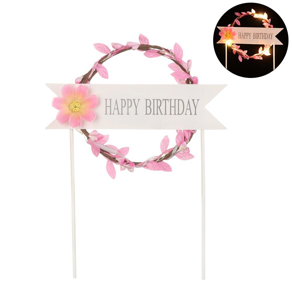 1 шт. светодиодный, светящийся, искусственная гирлянда, Топпер для торта на день рождения, подарок для торта, украшение, цветок маргаритки, топперы для торта, год - Цвет: pink