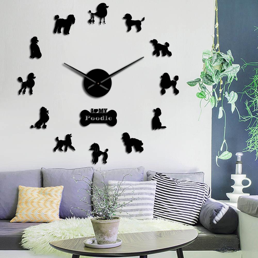 Poodle Big Hand Modern Wall Clock Pudelhund DIY Giant Wall Clock Dining Room Wall Decor Caniche Mirror Effect DIY Large Wall Art