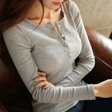 Осенняя женская футболка с длинным рукавом, самосовершенствование, на пуговицах, хлопковая куртка, закрытое шоу, солидное, универсальная одежда, футболка