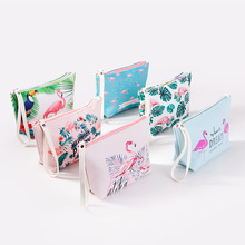 Fashion Women Flamingo Cosmetic Bag PU Leather Zipper Makeup Travel Organizer For toiletries Toiletry Kits