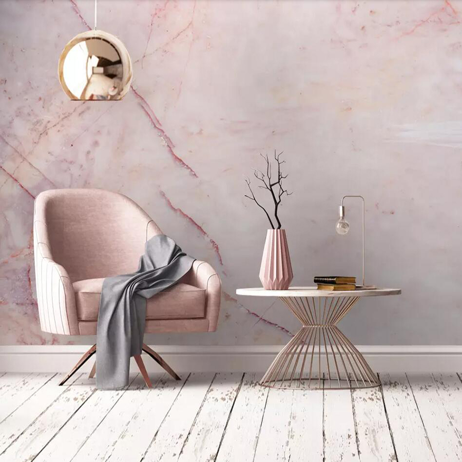 Custom Mural Wallpaper Pink Marble Marble Background Wall Decoration Painting