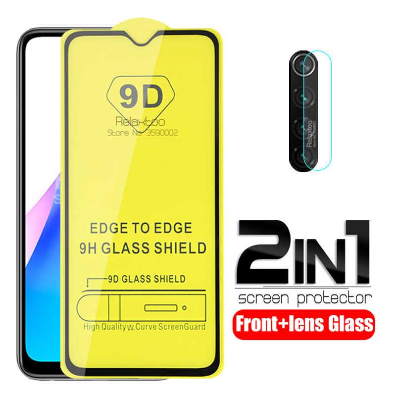 2 In 1 9D Full Lem Kaca Pelindung Redmi Note 8T Lensa Kamera Film untuk Xiaomi Redmi Note 8T 8T note8T Note8 T Tempered Glass