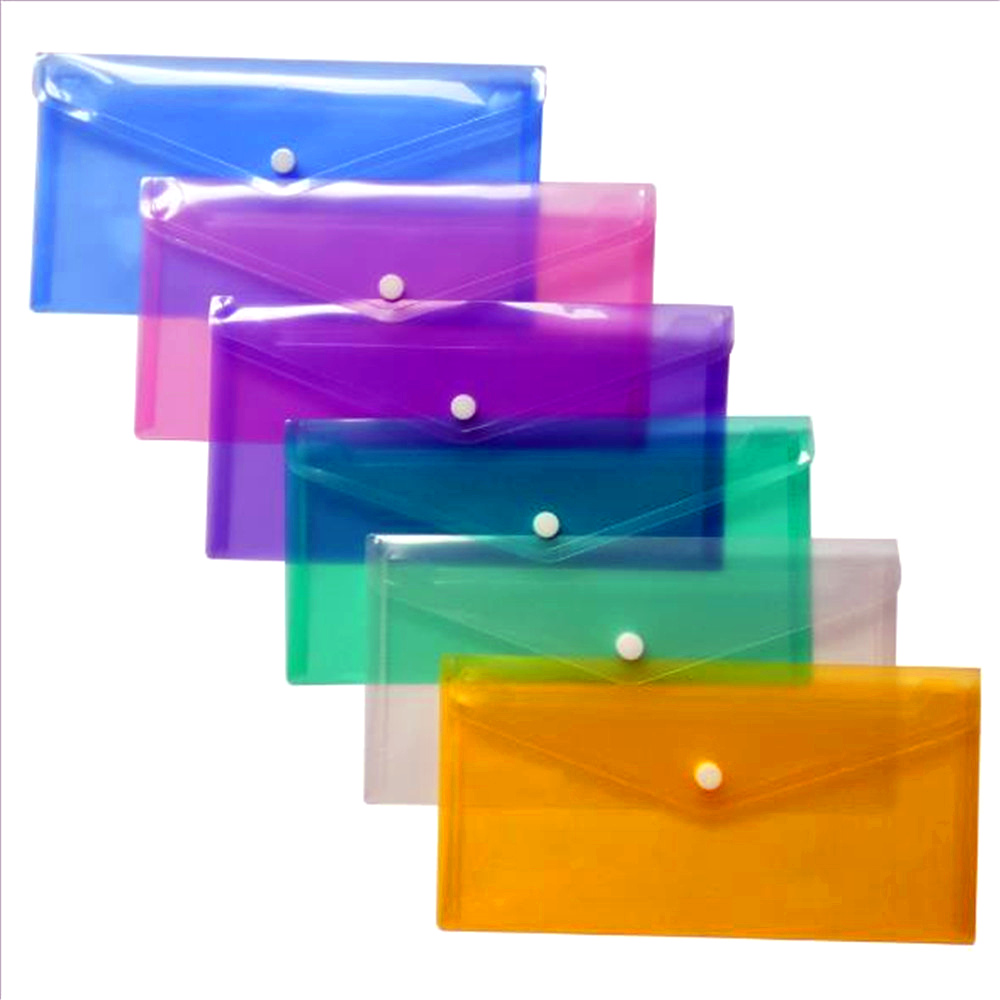 A6 Clear Document Bag Paper File Folder Portable Stationery School Office Case PP 6 Colors Available