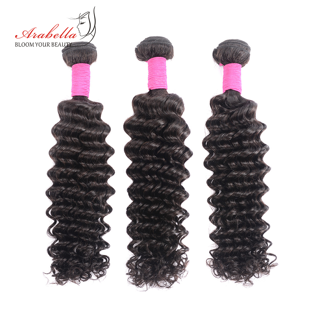 Peruvian Deep Wave Hair Bundles 3 Pieces Natural Black Color Hair Extension Arabella Remy Hair Weave Bundles