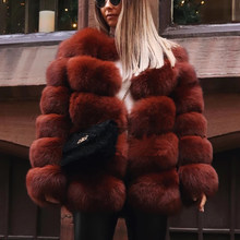 CP Winter Faux Fox Fur Coat Women Fashion Pockets V Neck Fur Jacket Women Casual Long Sleeves Overcoat Female Ladies CP334(China)