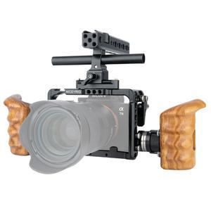 Image 4 - Niceyrigلسوني A7RIII/A7MIII/A7RII/A7SII/A7III/A7II هيكل قفصي الشكل للكاميرا عدة مع مقبض خشبي قبضة HDMI مشبك كابلات أري جبل