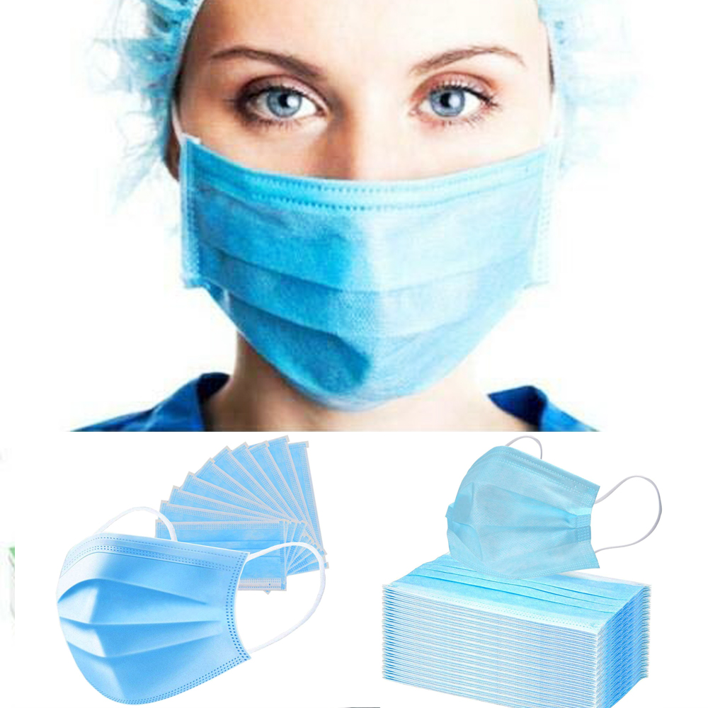10/30/50/100pcs Non Woven Disposable Face Mask 3 Layer Dental Earloop Activated Carbon Anti-Dust Face Masks
