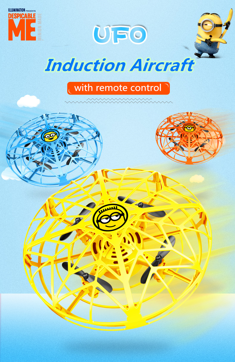 2019 Newest <font><b>Minions</b></font> Flying Helicopter with remote control Mini <font><b>drone</b></font> UFO RC <font><b>Drone</b></font> Infraed Induction Aircraft Quadcopter Upgrade image