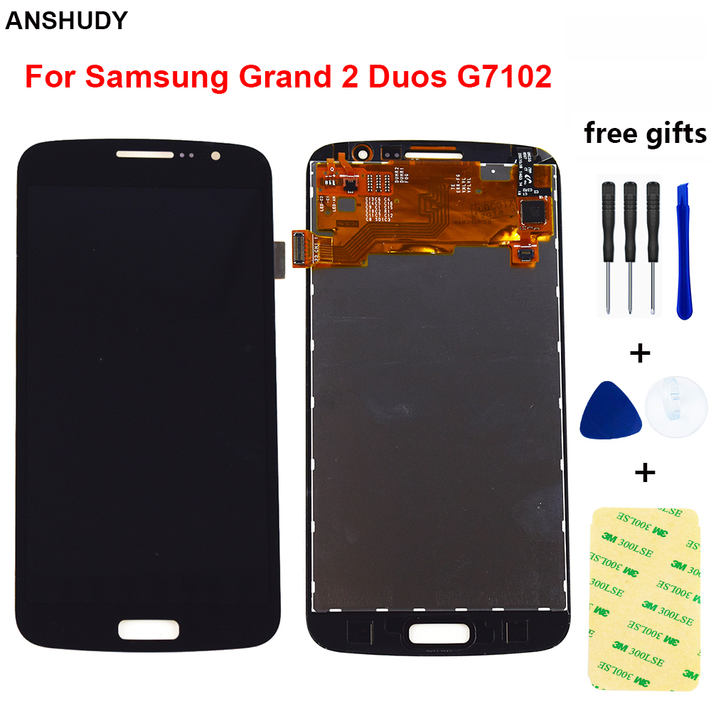 For Samsung Galaxy Grand 2 Duos G7102 G7105 G7106 G7108 Touch Screen Digitizer Sensor Panel Glass + LCD Display Monitor Assembly image