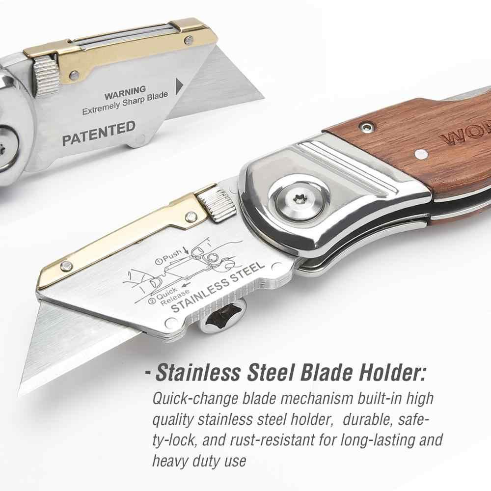 WORKPRO Heavy Duty Folding Messer Rohr Cutter Tasche Messer Holz Griff Messer mit 10PCS Klingen