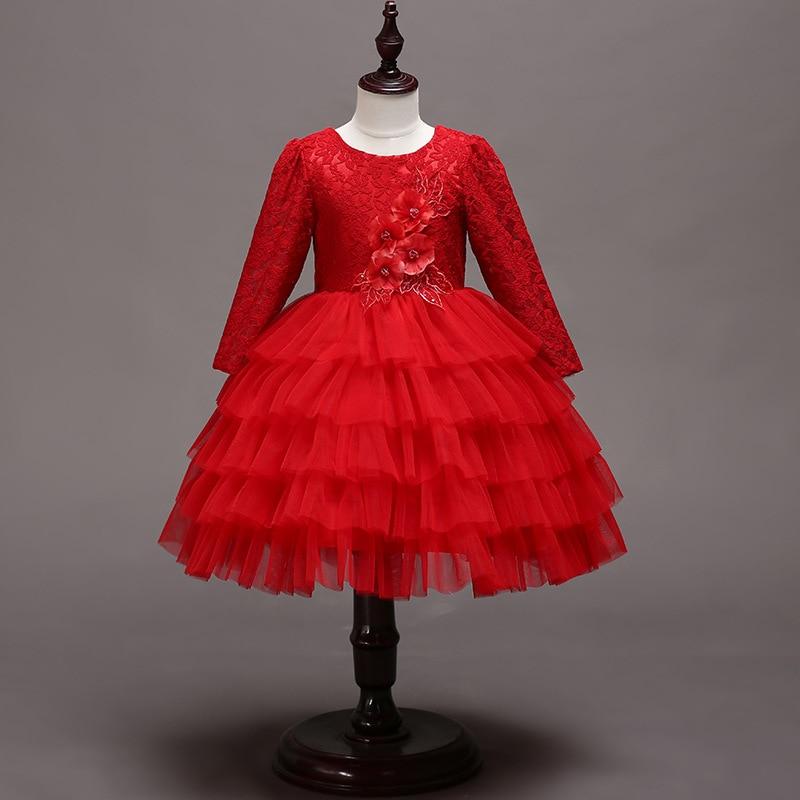 New Style CHILDREN'S Full Dress Gauze Princess Dress Lace Pleated Tutu Hollow Out Back Girls Dress Childrenswear