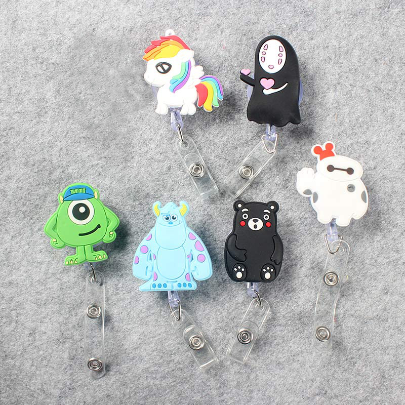 Funnydog Cute Retractable Plastic Badge Holder Reel Student Nurse Use For Exhibition ID Enfermera Name Card Office Chest Card