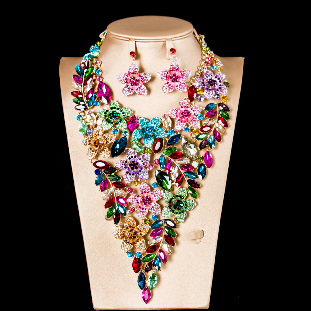 New Fashion Wedding jewelry Sets Full Austrian Crystal Necklace Earrings Sets For Women Bridal & Party Jewelry Sets JS152
