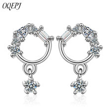 OQEPJ Trendy Hollow Circle Zircon Creative Earring 925 Sterling Silver Wedding Gold Silver Color Earrings For Women Jewelry dreamcarnival 1989 2 row thin stones zircon big circle round hoops sterling silver 925 jewelry timeless wedding earring se14743r