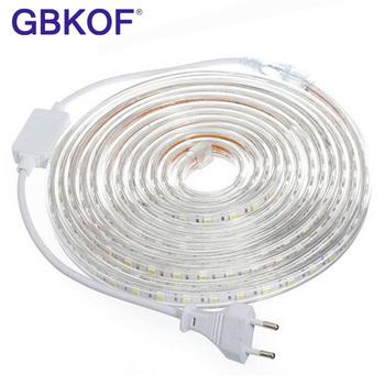 Elastyczna taśma ze światełkami LED SMD 5050 AC 220 V 60 lampek LED metr wodoodporne z wtyczką do zasilania o długości 1 2 3 5 6 8 9 10 15 20m tanie i dobre opinie GBKOF CN (pochodzenie) Salon 50000 Zawsze na Taśmy 11 52 w m Epistar Warm white (2700-3500K) Smd5050 ROHS SMD5050 220V LED Strip light