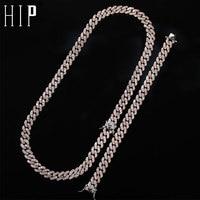 Hip Hop 1Set 8MM Bling Iced Out Zircon Full Rhinestone Necklace Geometric AAA CZ Stone Cuban Chain Bracelet For Men Jewelry