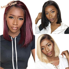 Angel Grace Hair Short Bob Lace Front Human Hair Wigs 13X4 Brazilian Straight Blonde Bob Wigs Pre Plucked With Baby Hair Remy(China)