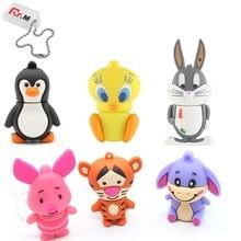 Cute Cartoon USB Flash Drive 32GB Animale Maiale Bunny Pendrive 64GB di Capienza Reale 4GB 8GB 16GB di Memoria Bastone I Flash Disk Pen Drive
