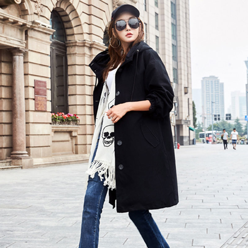 XITAO Korean Style Medium Length Hat   Trench   Coat Leisure Loose Single Breasted Coat Fashion Solid Color Top Women 2019 WQR1402