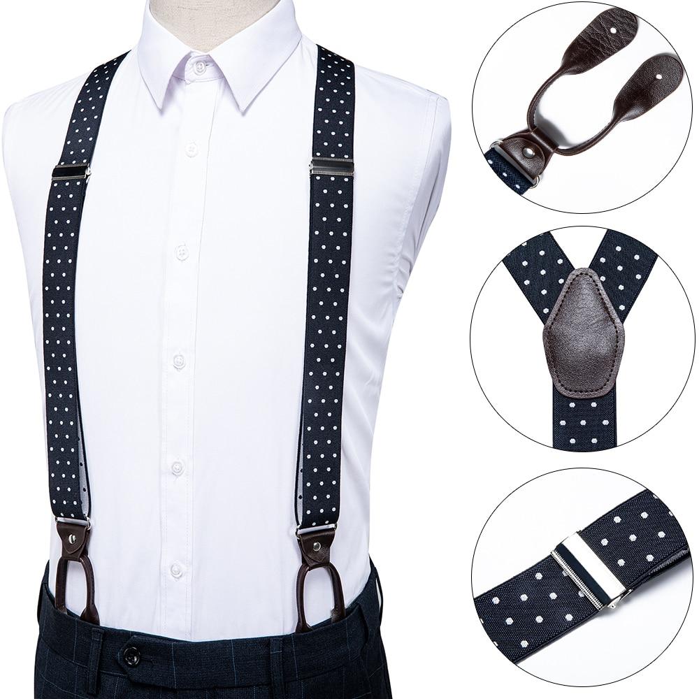 DiBanGu Mens Suspender Leather Black White Dot Design 6 Buttons Fashion Brace Strap Suspensorio Adjustable Ligas Tirante BD-519