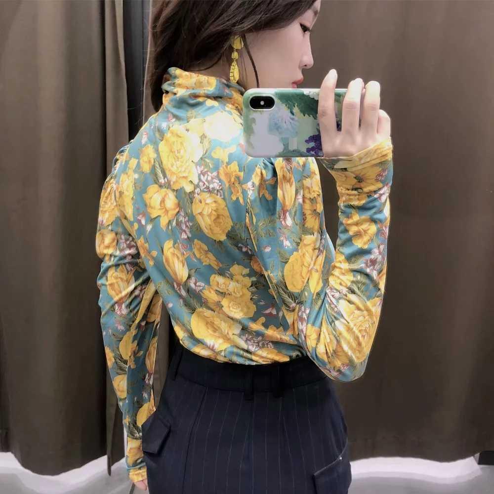 ZA נשים 2020 אביב חדש חולצות T חולצה צהוב פרח גולף פאף שרוול אלגנטי אלסטי slim fit נשים חולצות