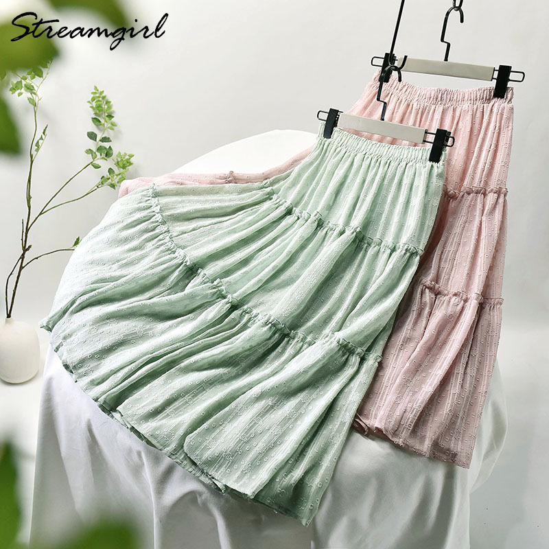 Long Skirts For Women Summer Chiffon Pleated Skirt Elastic Waist Solid Office High Waisted A Line Skirt Maxi White Skirts 2020