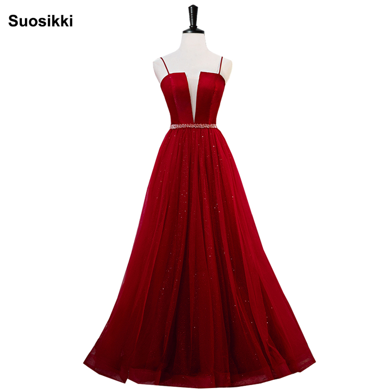 Prom     Dresses   Satin 2019 Sexy V-neck beading Long Formal Party Gowns Cheap   Prom   Long Elegant