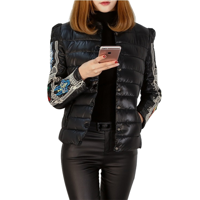 2019 fashion short cotton jacket winter   parkas   women plus size 5XL embroidery stand collar black slim cotton-padded jacket A2916