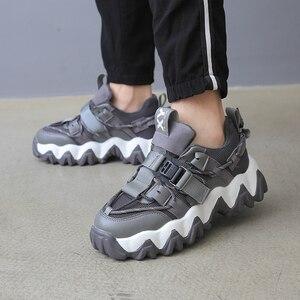 Image 5 - Baskets de luxe à plateforme épaisses pour femme, chaussures de 5cm, vulcanisées rehaussées, pour vieux papa, tennis à la mode, 43