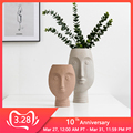 Скандинавские керамические вазы для лица Ins белая керамическая художественная ваза для лица человека для цветы для дома и сада декор горшок...