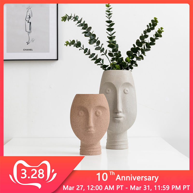 Nordic Ceramic Face Vases Ins White Ceramic Art Craft Human Face Vase for Flower Home Garden Decor Succulent Pot Modern Style