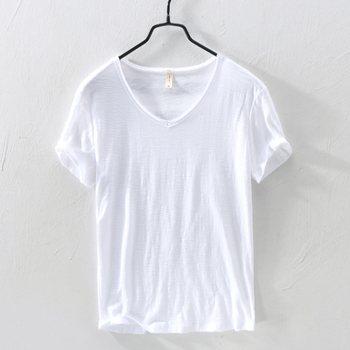 2020 Summer New 100%Cotton T-shirt Male V-neck Solid White Casual T Shirt Men Basic Tee Plus Size Short Sleeve Tops Men Clothing women s t shirt summer plus size tee basic t shirt women solid v neck short sleeve long casual women tops loose tee shirt femme