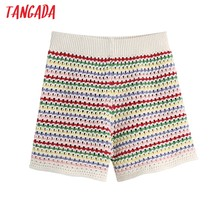 Tangada-pantalones Cortos de Jacquard a rayas de arcoíris para mujer, Shorts elegantes de punto de cintura alta, ajustados, BE244
